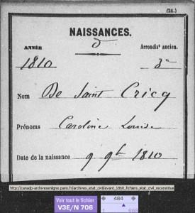 DeSaintCricq_Caroline_naissance_1810